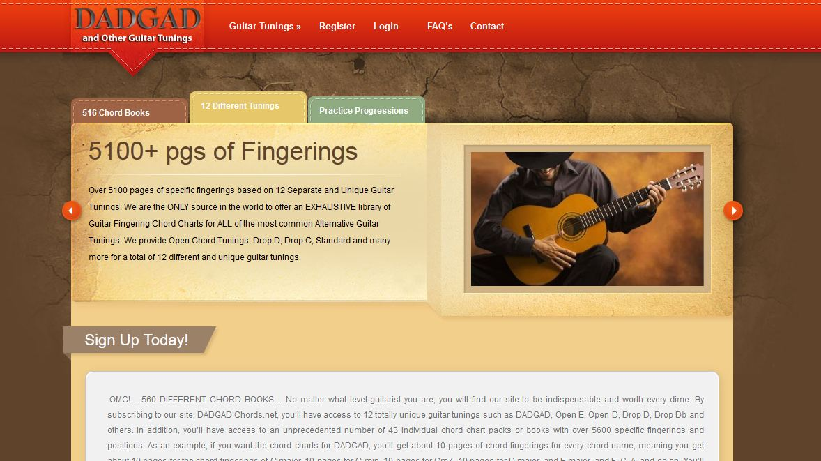 Webdesign For A Guitar Chord Site Remington Agency